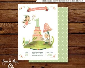 Sugarplum fairy and gnome 1st birthday printable invitation - original illustrated woodland  fairy party invitation