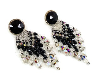 Black Earrings, Big Statement, Vintage Earrings, Faceted Crystal, Handcrafted, Boho Bohemian, Large Dangles, Pierced Posts, Gothic Gypsy
