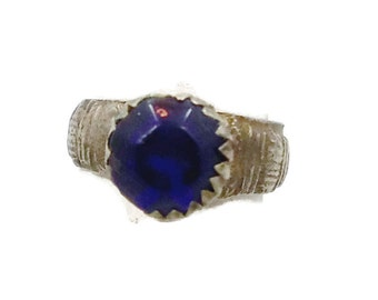 Gypsy Ring, Vintage Ring, Cobalt Blue Glass, Kuchi Ring, Afghan Ethnic, Statement Ring, Nomad, Turkomen Jewelry, Bedouin, Boho Bohemain