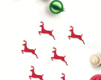 Christmas deer jumping die cut embellishments in any colour set of 15