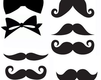 moustaches and bows set of eight black