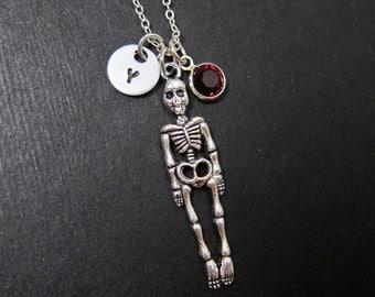 Human Skeleton Necklace - Custom handstamped initial, Personalized Swarovski birthstone
