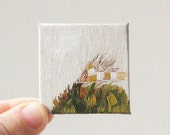 RESERVED for KIM autumn  / MINIATURE painting on canvas panel