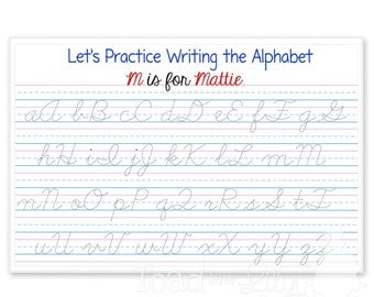 Kids PLACEMAT Learn to Write Your ABC's Children's Personalized Wipe-able Place Mat Printed and Cursive Laminated Kids Placemat with Name