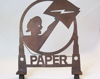 Art Deco Chase Paperboy Newspaper Stand, 1930s Metal Display Easel Cook Book Holder