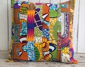 Reserved listing African decor x 4 Patchwork cushion African pillow cover, scatter cushion, African wax print  (17 inch) Africa decorative