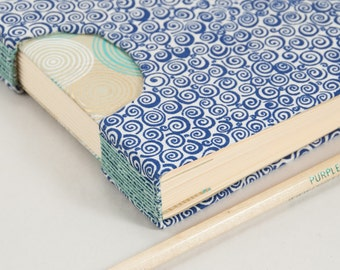 Square Guestbook, Notebook or Journal with a Swirly Blue and White Fabric Cover