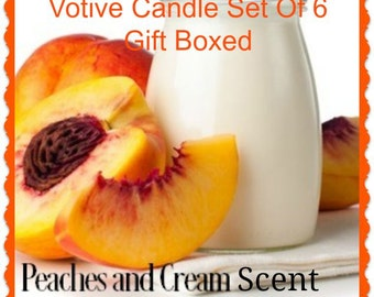PEACHES & CREAM Scented Votive Candles - Handmade Votive Candle - Highly Scented - Gift Boxed Set Of 6 - Hand Poured In USA
