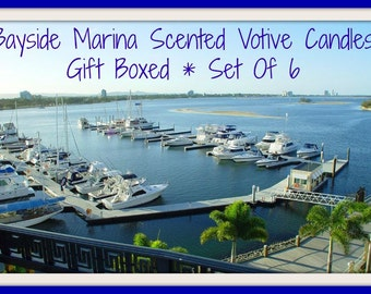 BAYSIDE MARINA Scented Votive Candles - Handmade Mottled Paraffin - Highly Scented - Gift Boxed Set Of 6 - Hand Poured - Made In USA