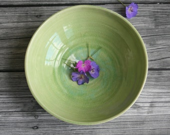 Stoneware Serving Bowl in Spring Green Glaze Handmade Pottery Made in USA Ready to Ship