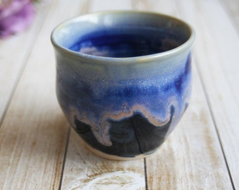 Yunomi Teacup in Blue Dripping Glaze Handmade Ceramic Pottery Cup Stoneware Ready to Ship Made in the USA