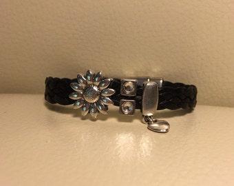 Women's black braided bracelet