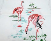 embroidered flamingo runner, vintage table linen, white linen, home decor, hand embroidered