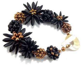 Statement Bracelet, Black Bracelet, Chunky Bracelet, Gift, Botanical Bracelet, Flower Bracelet
