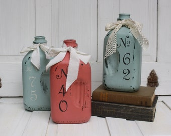 Glass Milk Bottle- Painted Milk Bottle- Milk Bottle Vase- Upcycled Glass Bottle
