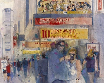 Something Rotten - Broadway Musical - Selfie - NYC Theatre District Watercolor Print by Dorrie Rifkin  Various Sizes