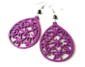 Purple Wooden Earrings with Black Glass Beads