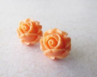 Peach Rose Stud Earrings. Orange Flower Post Earrings.