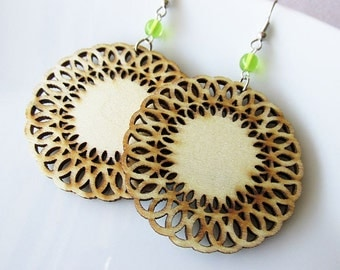 Natural Stained Circle Lace Edged Wooden Earrings with Peridot Green Glass Beads. Hippie Boho