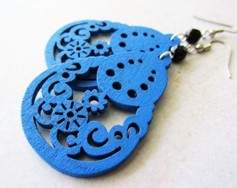 Royal Blue Pear Shaped Wooden Earrings with Black Glass Beads