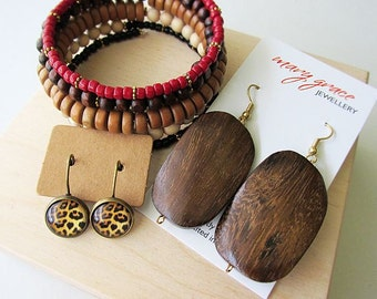 Earthy Rust Jewellery Gift Set - dark brown, leopard