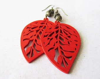 Red Wooden Leaf and Capped Smokey Brown Glass Beads Earrings - woodland hippie