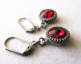 Ruby Red Swarovski Rivoli Crystal Earrings. Worn on Mariah Carey's Christmas Movie, A Christmas Melody.