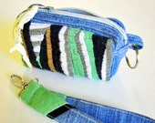 Coin purse or card wallet upcycled fabric blue denim bag small zipper pouch wristlet handle key bag