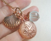 Seashell Necklace Copper Shell Pendant Beach Necklace Sand Dollar Necklace Beach Jewelry Beach Beaded Necklace