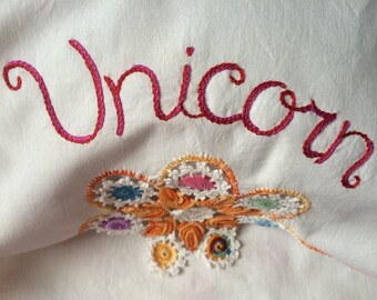 Unicorn at Rest, Pillowcases, Hand embroidered, Boho bedroom, Girlfriend gift, Bohemian, Unicorn, Birthday gift