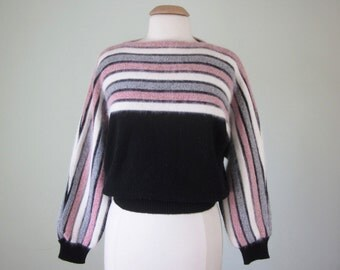 80s black & red striped dolman batwing wool angora knit sweater top blouse (s - m)