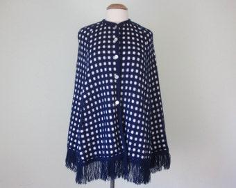 70s navy & white knit poncho cape sweater fringe (s - m)