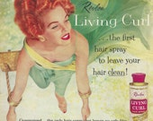 Vintage 1958 magazine ad advertisement - Revlon Living Curl hairspray AND Scott bath tissue  --Expires May 21 2016 and will not be renewed--