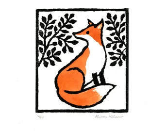 Limited edition hand printed and hand colored linocut of a fox