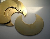 4 extra large flat brass crescent stamping blanks