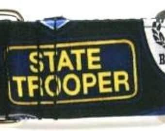 1.5 inch police greyhound martingale dog collar, K9, state trooper, thin blue line, marine police, sheriff--SWAT Police