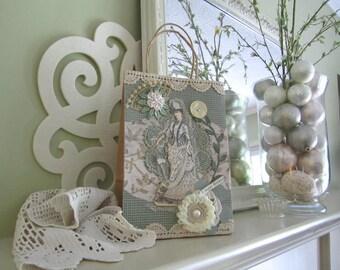 Birthday Gift Bag - Handmade Victorian-style Gift Bag - Light Green Gift Bag