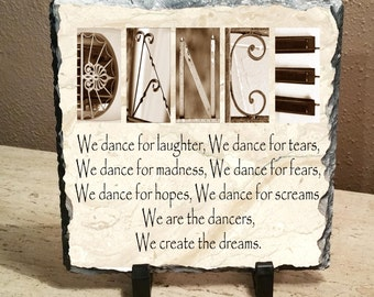 "Dance Inspirational Letter Art 8""x8"" Slate, dance recital, dance teacher, dance competition, dancer gift"