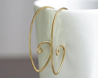 Brass Oval Open Hoop Earrings, Handmade Plain Simple Brass Oval Shape Everyday Hoop Earrings, 18 Gauge Earrings