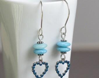 Sky Blue Beaded Sterling Silver Dangle Earrings, Blue Heart Earrings, Blue Drop Earrings