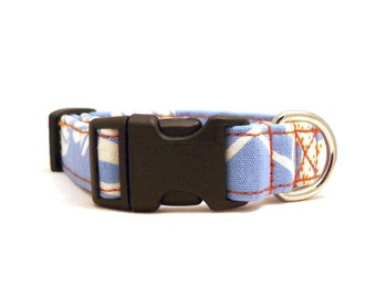 Sun among the clouds -- light blue, white and orange adjustable XS / S / puppy dog collar