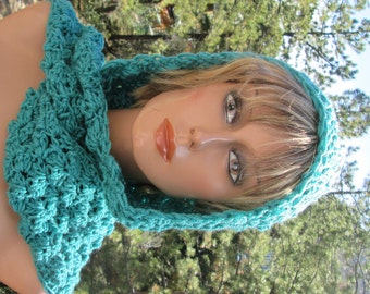 Hooded Scarf Scoodie Teal Turquoise Vegan Hand Crocheted