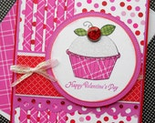 Valentines Day Card with Matching Embellished Envelope - Sweet Cupcake