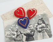 HEART French Gold Red Felt Brooch