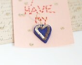 HEART French Gold Blue Felt Earrings - small size