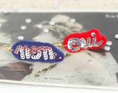 OUI NON French Silver Blue & Red Felt Earrings
