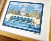 Madison, Wisconsin Skyline, 8x10 print