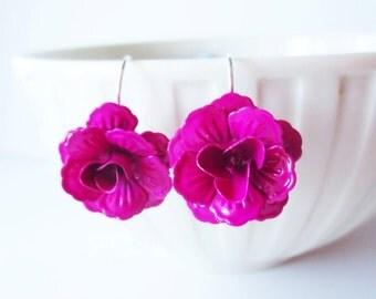 Fuchsia rose earrings.  Flower earrings.  Hot pink rose earrings.  Rose jewelry. Fuchsia earrings. Hot pink earrings. Flower jewelry.