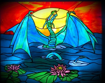 "DRAGON Stained Glass, Greeting Card,  Ideal Birthday, Thank You, Notecard. 5x7"". FREE SHIPPING"