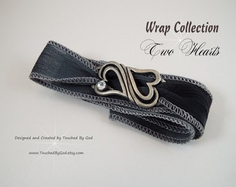 Wrap Bracelet · Double Heart Connector · Heart Swirl Buckle · Ribbon Wrap · Wrist Wrap · Valentine's Day · Gift for Her · Wife Gift